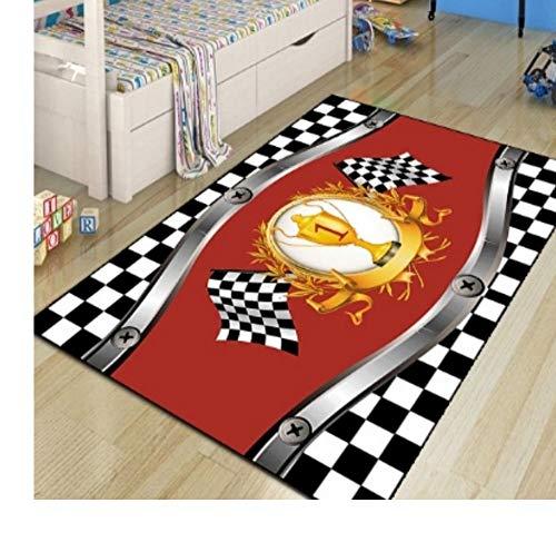 QAQA Rode Auto Cup Zwart Wit Vlag 3D Print Niet Slip Polyester Kinderen Kamer Ruimte Kindertapijt Kids Game Mat 1.3m*1.8m