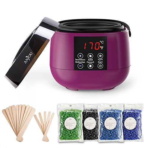 Wax Warmer, Waxing Hair Removal Kit with LED Screen Display, Anjou Electric Wax Heater with Non-Stick Interior and 15 Applicator Sticks, Hard Wax Beans with 4 Scents for Arm, Leg and Toe