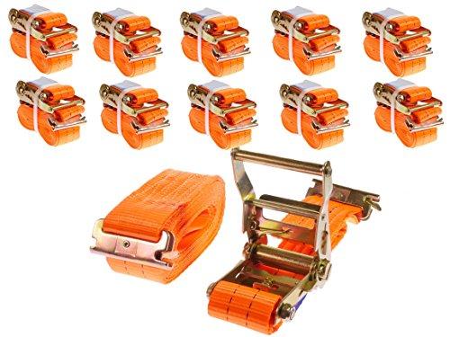 INDUSTRIE PLANET 10 x 2000kg daN 5m 2t Spanngurte für Ankerschiene mit Ratsche Anker Kombi Schiene zweiteilig orange Ratschengurt Zurrschiene 50mm Langlochschiene