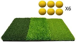 TrueBirdie Golf Mat for Indoor or Outdoor Practice - Multi Surface Golf Hitting Mat Perfect for Backyard Practice - 6 Foam Golf Balls Included