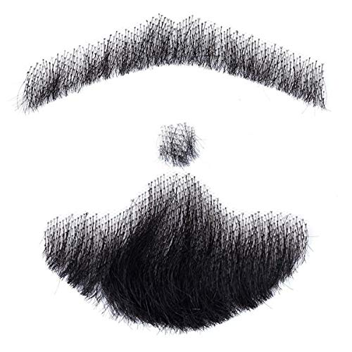 JINSUO NWXZU Fake Beard-100% Human Hair Fake Men's Beard Makeup Mustache Perfect for Costume and Party Hand Made (Color : #6, Stretched Length : 6inches)
