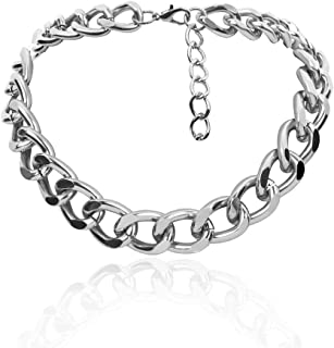 Daimay Women's Alloy Choker Necklace Heavy Cuban Chunky Chain Punk Gothic Hip Hop Metal Necklaces - Silver