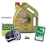 1x Kit cambio olio-MANN filtro olio+tappo drenaggio olio+etichetta cambio olio + 5 L CASTROL EDGE FST 5W-40 MINI R56 R55 1.6