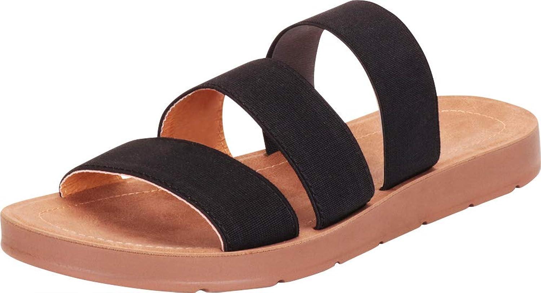 Cambridge Select Women's Three-Strap Slip-On Flat Slide Sandal