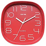 Kook Time Reloj Pared Retro Cuadrado, Rojo, 28.5x28.5x5.2 cm