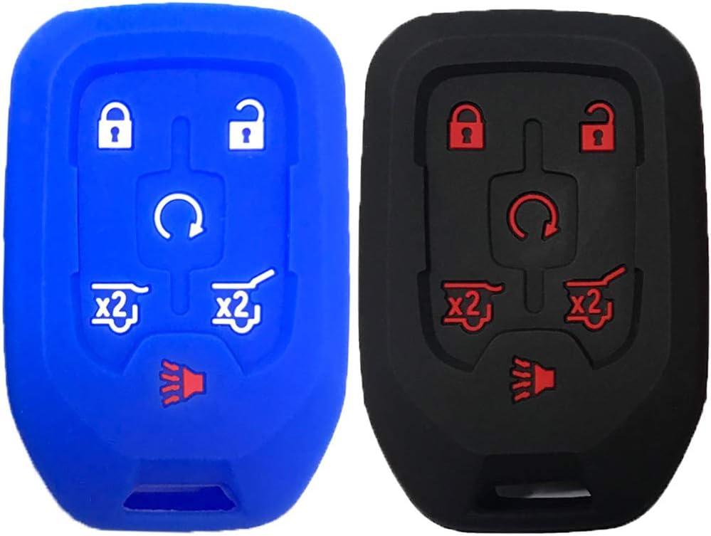 KOSMIQ Silicone 4 Buttons Key Fob Cover Case Protector Remote Jacket Keyless Entry for 2018 2017 Chevrolet Chevy Silverado Colorado GMC Canyon Sierra Yukon Cadillac M3N32337100