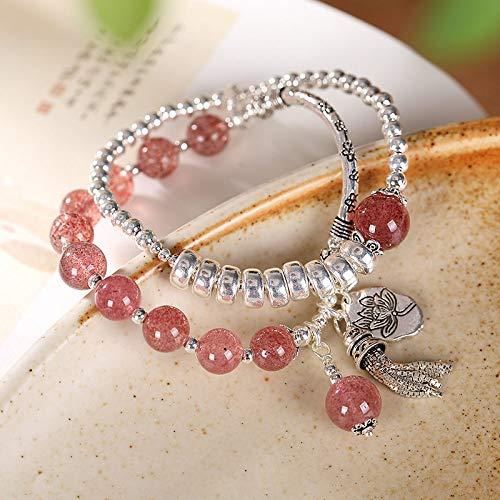 S925 armband, vintage, zilver, vrouwen, mannen, aardbeien, natuur, lotus, mok, kristal, dubbele laag, eenvoudig en elegant, modieus, creatief, mooi cadeau.