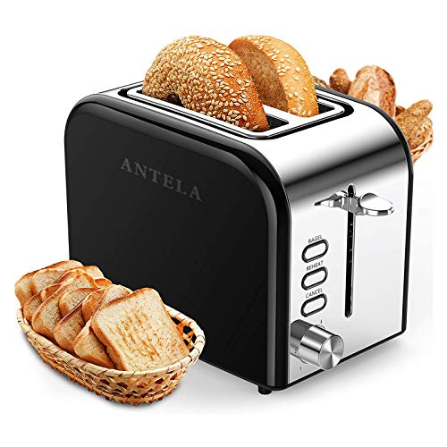 ANTELA Toasters 2 Slice Best Rated Prime Wide Slot 2 Slice Toaster 1.5in with Bagel/Reheat/Cancel Function Stainless Steel Cool Touch Black Toaster for Bread with Removable Crumb Tray (Black)