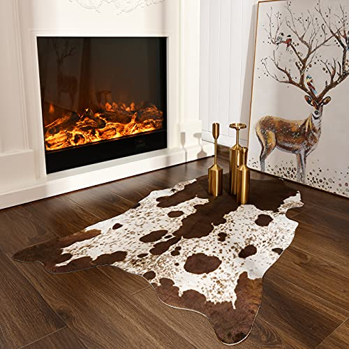 Faux Cowhide Rug for Living Room Brown and White  Cow Print Area Rug for Bedroom  Imitated Cow Hide for Kids Room  Washable Fuax Cow Rug  Bedside Rug Animal Print Home Decor 2.3 x 3.6 Feet