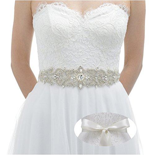 SWEETV サッシュベルト ウエディングドレスベルト ダイヤ飾りベルト ラインストーン 結婚式のベルト ブライ...