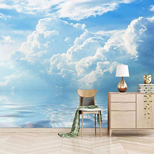 Fotobehang blauwe hemel en witte wolken muur muurschildering 3D niet-geweven moderne woondecoratie voor slaapkamer badkamer 150x100cm