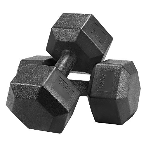 Yaheetech 2x7.5kg Hex Dumbbells Set, Portable Hand Weights Set for Home Fitness Sporting Cardio Training, Black