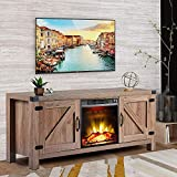 MIERES 58 inch Barn Door Wood Fireplace Stand for TV's up to 65 inch Living Room Storage, Nature