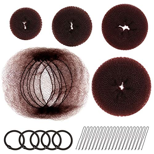 Hair Donut Bun Maker, FANDAMEI Hair Bun Shaper Set with 20 pcs Invisible Hair Nets for Bun, 4pcs Donut Bun Maker, 5 pcs Hair Elastic Bands, 20 pcs Hair Bobby Pins
