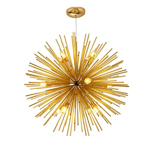 Chinas Pequeñas linternas 9/12 Light Gold Finish Chandelier Nordic Modern Chandelier Personalidad Creativa Simple Restaurante Bola Bola Satélite Araña (Size : 12 Light 52cm)
