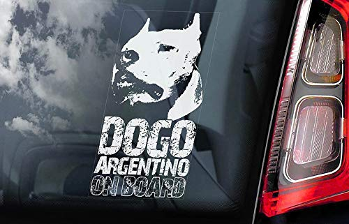 CELYCASY Dogo Argentino on Board - Car Window Sticker - Argentine Mastiff Sign Gift Decal - V02 1