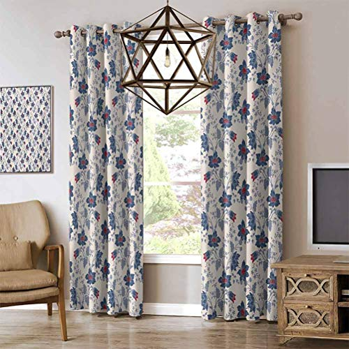 Floral noise proof curtains Classic Flowers with Vivid Blooms and Victorian Vintage Effects Pattern Darkening Thermal Insulated Blackout Grommet Curtain Cream Night Blue Ruby W108 x L96 Inch