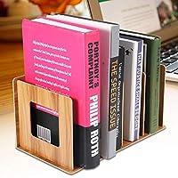 耐久性のある本棚、木製デスクトップの本棚、オフィススクールブックホーム用のマルチスロット(Cherry wood)