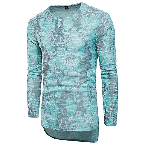 Men T-Shirt Long Sleeve Round Neck Slim Fit Print Sweatshirt Breathable Thin and Slightly Casual Pullovers Irregular Hem Fashion Boutique T-Shirt -A-Blue XL