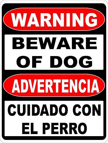 Warning Sign Warning Bilingual Beware of Dog Sign. English & Spanish Safety Signs Road Sign Business Sign 8X12 Inches Aluminum Metal Tin Sign