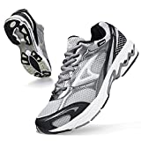 ASHION Men's Non Slip Work Tennis Mesh Resistant Sneakers Excursion Lightweight Breathable Athletic Running Walking Tennis Shoes Travail Cushioned Long Distance Grey 10