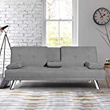 MIERES Futon Sofa Fold Up & Down Recliner Couch w/Metal Legs and 2 Cup Holders Quickly Converts into a Bed, Sleeper Daybed, for Small Spaces, Light Grey