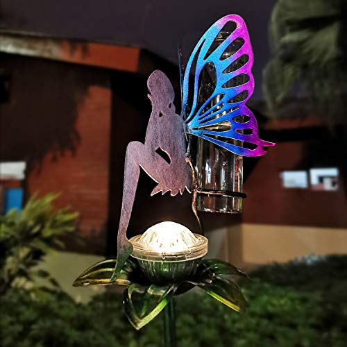 LeiDrail Rain Gauge Outdoor Solar Powered Garden Metal Stake Decorative Fairy LED Lights 5 Inch Capacity Waterproof Large Glass Tube for Yard Lawn Patio Pathway
