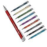 polar-effekt 1 Metall Oleg Kugelschreiber mit Gravur des Namens - Personalisierte Geschenkidee zum Valentinstag Mitbringsel - blau schreibend - Farbe rot