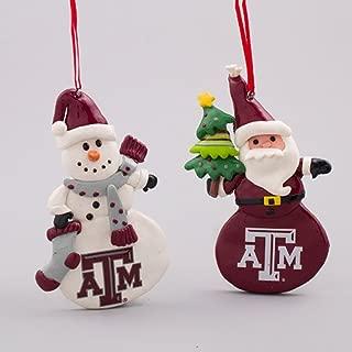 Sterling Christmas Decor - Santa Snowman Texas A & M College Ornaments