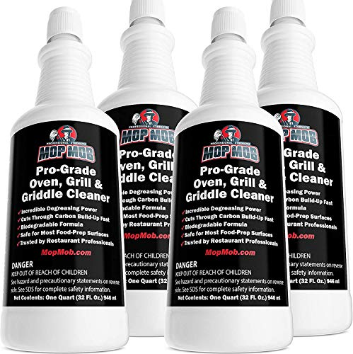 Food Safe, Pro-Grade Grill and Oven Cleaner 1 Gallon. Mop Mob Ultra Strong Cleaning Liquid Dissolves Baked-On Grease and Carbon. Perfect for Your Cast Iron Cooktop, Stainless Steel Flat Top or Fryer
