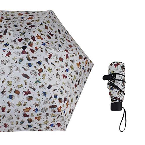 PPCERY Parasole Femminile Ombrello Ombrello Tasca Mini Ombrello Pioggia Signora Antivento Durevole Pieghevole Ombrello Portatile Ombrello Portatile (Color : Bear)