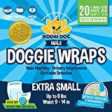 Disposable Dog Male Wraps | 20 Premium Quality Adjustable Pet Diapers with Moisture Control and Wetness Indicator | 20 Count Extra-Small Size