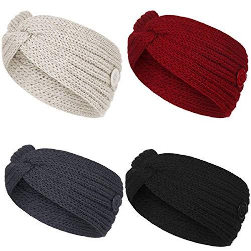 SunAurora 4 PCS Bandeau D'hiver Femmes, Bandeau Hiver Réchauffeur, Tricoté Plaine Bandeau de Tête, Bande Elastique Cheveux