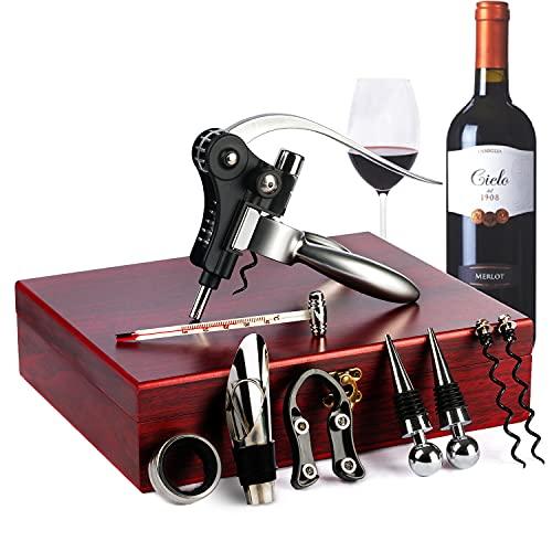Cavatappi in acciaio INOX kit set regalo apribottiglie birra/vino accessori trucco Tenyear custodia in legno
