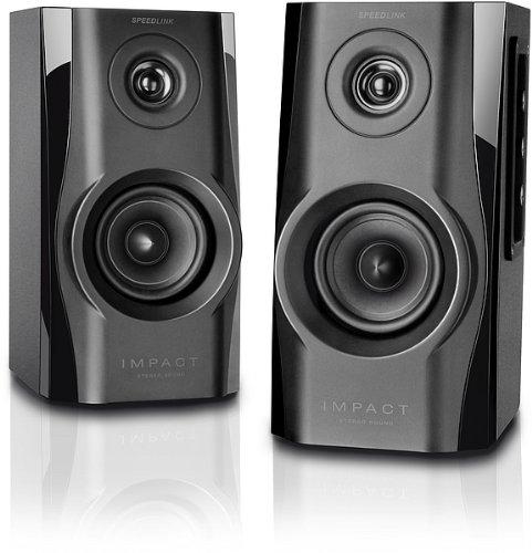 Speedlink Aktives Lautsprechersystem - IMPACT Stereo Speaker 3,5mm (Bassreflex-Öffnung für beste Tiefton-Leistung - Frequenzgang von 80Hz bis 18kHz - ideal für Spiele, Musik und Filme) für Computer / Laptop schwarz