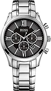 Hugo Boss Ambassador Men's Black Dial Stainless Steel Band Chronograph Watch - 1513196, Analog Display, Japanese Quartz Mo...