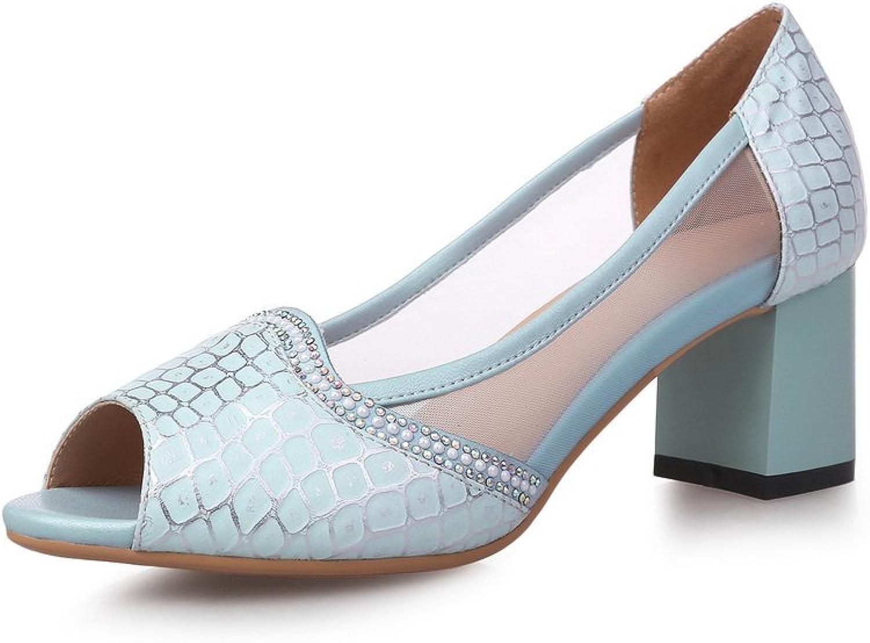 AmoonyFashion Women's Open Toe Pull On PU Solid Kitten Heels Sandals