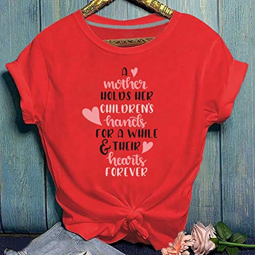 ZCMWY Camisetas de Mujer Una Madre Sostiene Las Manos de Los Niños Camiseta de Manga Corta con Estampado de...