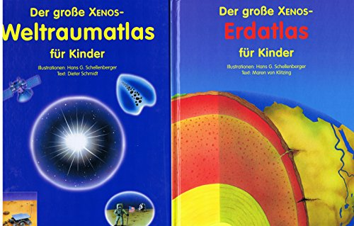 Xenos Erdatlas und Weltraumatlas 2 Stk Atlas Kinderbuch Sachbuch für Kinder