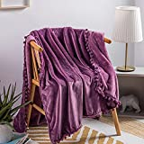 AUSTINCIAGA - Manta de franela con pompones, colcha decorativa, sofá o alfombra para otoño e invierno