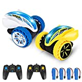 Acekid 2 Pack RC Stunt Cars, Kids Remote Control Car Toys, 4WD 2.4Ghz Double Sided 360°Rotating RC Car with Led Lights, Driving Cars Toys for Boys&Girls, Yellow+Blue