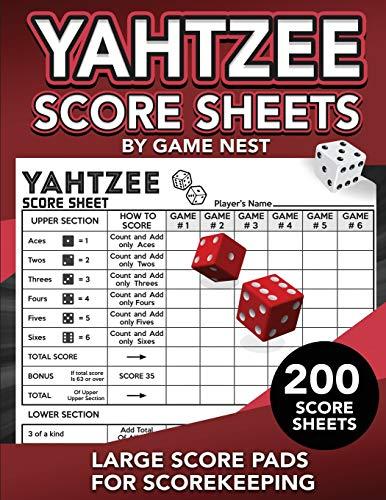 "Yahtzee Score Sheets: 200 Large Score Pads for Scorekeeping | 8.5"" x 11"" Yahtzee Score Cards (Yahtzee Dice Board Game Book)"