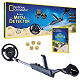 """NATIONAL GEOGRAPHIC Junior Metal Detector for Kids with 7.5"""" Waterproof Dual Coil, Adjustable Lightweight Design for Treasure Hunting Beginners, with 5 Replica Gold Doubloons"""