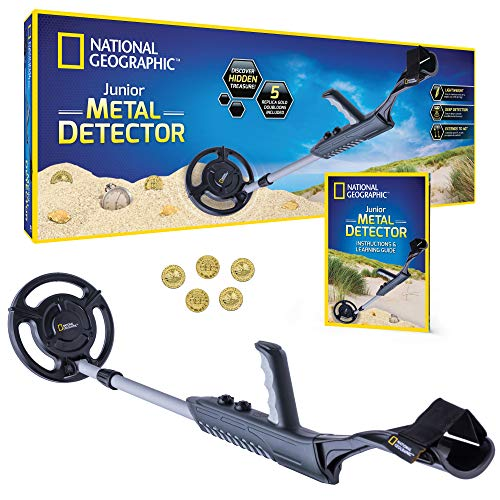 "NATIONAL GEOGRAPHIC Junior Metal Detector for Kids with 7.5"" Waterproof Dual Coil, Adjustable Lightweight Design for Treasure Hunting Beginners, with 5 Replica Gold Doubloons"