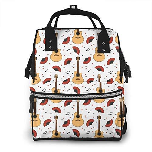 Mochila de Viaje Informal Bolsas de Viaje de Moda de Guitarra Linda Bolsa de pañales Impermeable Mochila de pañales Bolsa de bebé, Gran Capacidad, Multiusos, Elegante y Duradera