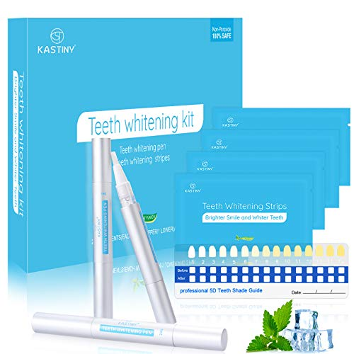 Blanqueador Dental, Kastiny 56 Tiras Blanqueadoras Dientes con 3 Gel de Blanqueamiento No Sensible, Teeth Whitening Kit Pen White Strips Cuidado Dental Casero para Dientes Blancos, Beautiful Smile