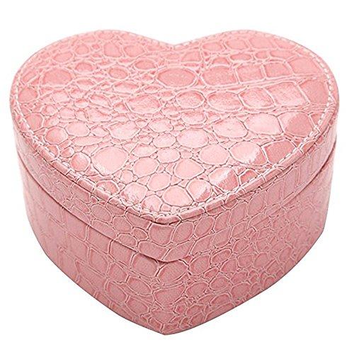 Boîte à bijoux portable élégante avec miroir de voyage pour collier, boucles d'oreilles, bracelet (rose)