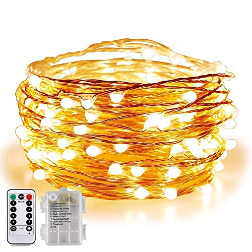 BOLWEO Battery Operated Fairy String Lights with Remote Timer Dimmer, 16.4Ft 50LEDs 8 Working Modes Copper Wire Lights for Home Bedroom Indoor Outdoor(Warm White)