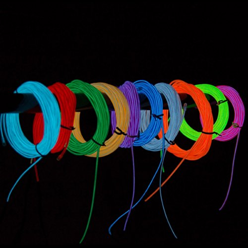 DoDoLightness New 15FT 4 modes Battery Operated Neon Glowing Strobing Electroluminescent Wires,EL Wire… (3 Meter, blue1)