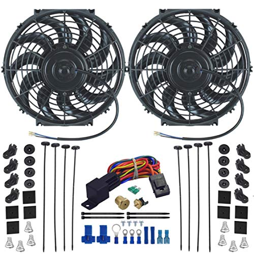 """American Volt Dual 12"""" Inch Electric Radiator Cooling Fans Upgraded 90w Motor & Thermostat Sensor Probe Relay Wiring Switch Kit Universal for Cars and Trucks (1/2"""" NPT, 180'F On - 165'F Off)"""